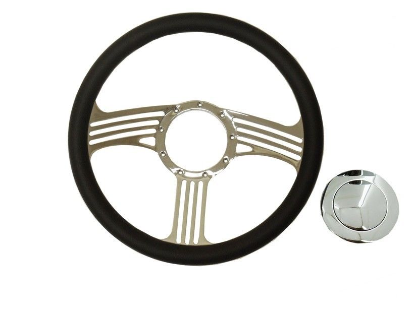 "14"" Blade Chrome Steering Wheel Half Wrap Leather &Smooth horn button"