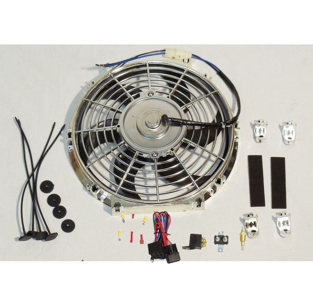 "Electric 10"" Chrome Curved Blade Cooling Fan 12V 80W 850CFM & Thermostat Kit"