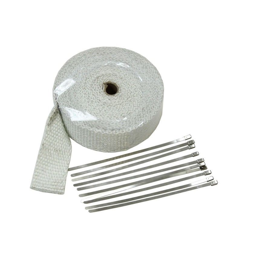 "2"" x 32' Exhaust Insulating Header Wrap White Graphite W/ Stainless Straps V-8"