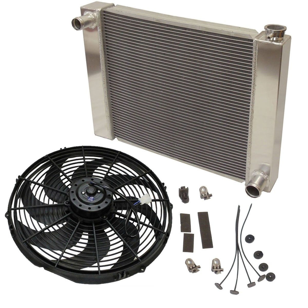 "Fabricated Aluminum Radiator 29"" x 19"" x3"" Overall For SBC BBC Chevy GM W/16 Inch Electric Fan"