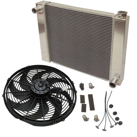 "Fabricated Aluminum Radiator 24"" x 19"" x 3"" Overall For SBC BBC Chevy GM With 16 Inch Electric Fan"