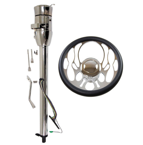 "14"" Chrome Ripple Style Billet Steering Wheel & Auto Column 28""GM No Key with Adapter & Horn Button"