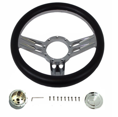 "14"" Billet Chrome Steering Wheel with Leather, adapter, Smooth horn Button"
