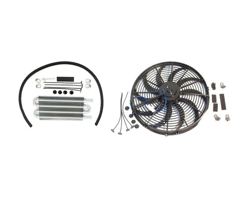 "16"" Electric Curved S Blade Radiator Cooling Fan & 12-3/4"" X 5"" X 3/4"" Transmission Oil Cooler"