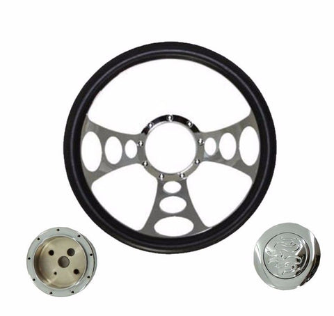 "14"" Billet Nine Hole Steering Wheel Half Wrap Leather ,adapter ,horn Button"