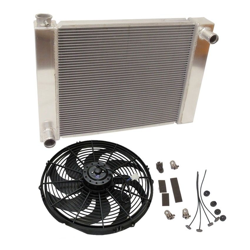 "Universal Ford / Mopar Fabricated Aluminum Radiator 31"" x 19"" x3"" Overall w/ 16 inch electric fan"