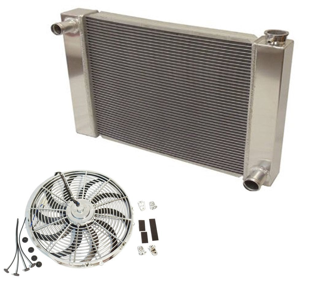 "Fabricated Aluminum Radiator 24"" x 19"" x 3"" Overall For SBC BBC Chevy GM&Chrome 16"" Electric Cooling Fan"