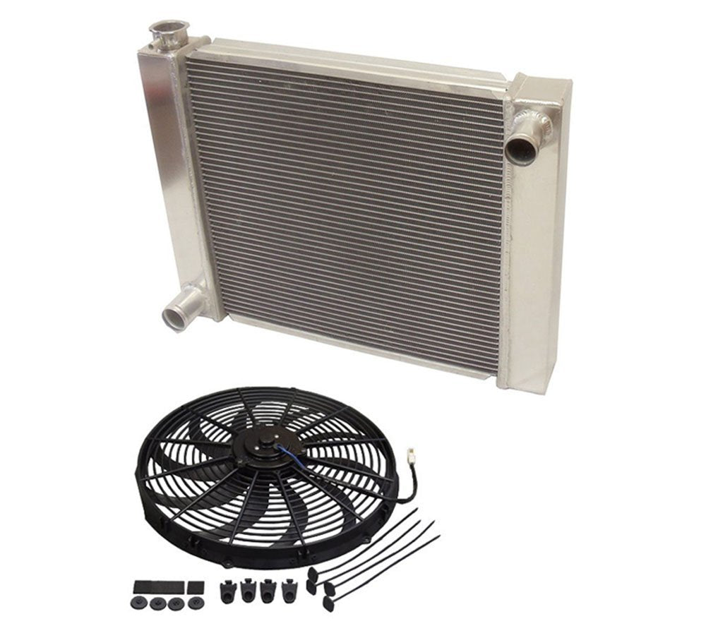 "Universal Ford /Mopar Fabricated Aluminum Radiator 26"" x 19"" x3"" Overall with 16"" Electric Fan"