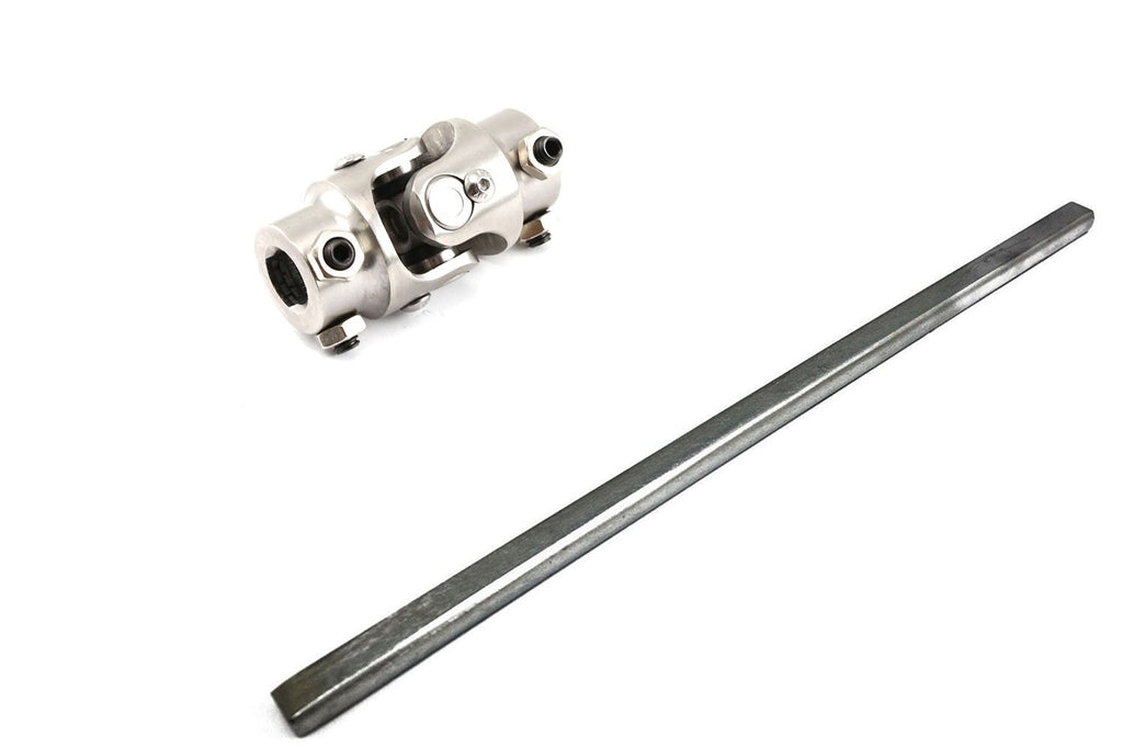 "18"" Length 3/4"" DD Steel Steering Shaft & Universal 3/4"" DD to 3/4"" DD Stainless Steel U Joint"