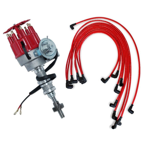 For Ford 351C 400 460 Electronic Distributor & 9.5 MM Red 90 Spark Plug Wires