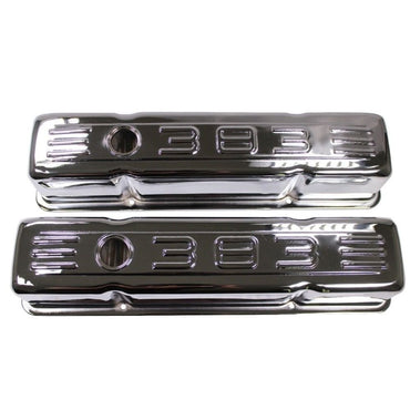 58-86 SBC Chevy Chrome Tall C.I.D. Steel Valve Covers Small Block 283 305 327