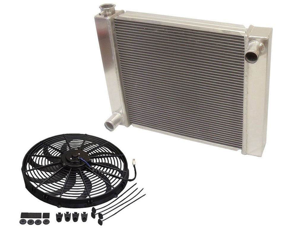"Universal Ford / Mopar Fabricated Aluminum Radiator 31"" x 19"" x3"" Overall with 16"" Electric Fan"