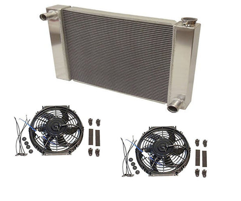 "Fabricated Aluminum Radiator 24"" x 19"" x 3"" Overall For SBC BBC Chevy GM With 2pcs 10 Inch Electric Fan"