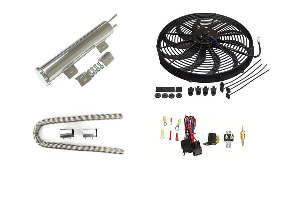 "Electric S Blade 16"" Radiator Cooling Fan with Thermostat Relay Kit&3""X 10"" Inch Radiator Overflow Tank&48"" Radiator Hose"