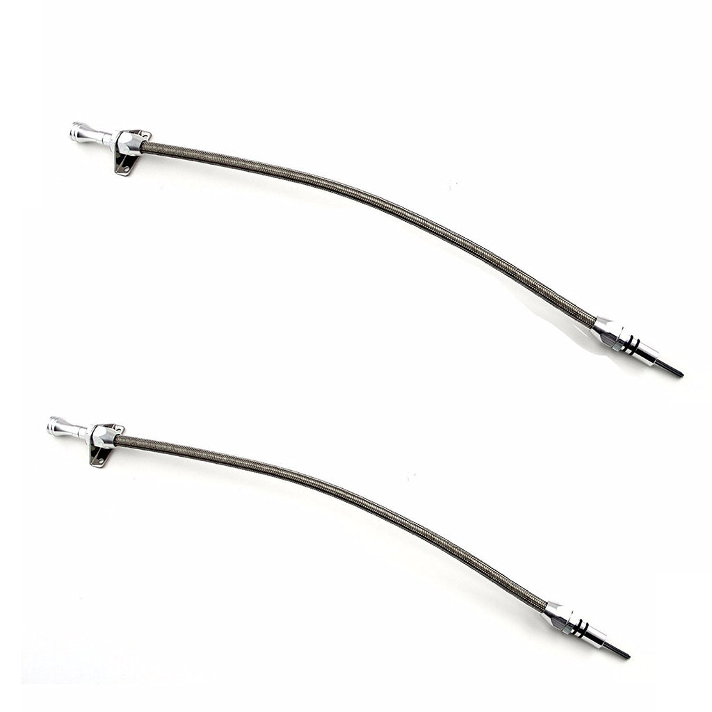 Chevy GM Turbo TH350 TH400 Flexible Transmission Oil Dipstick Braided Tube 2pcs