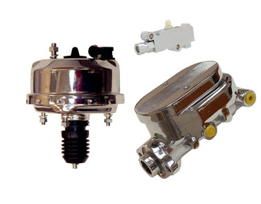 "Universal 7"" Single Diaphragm Chrome Brake Booster and GM Chrome Aluminum Brake Master Cylinder& Proportioning Valve"