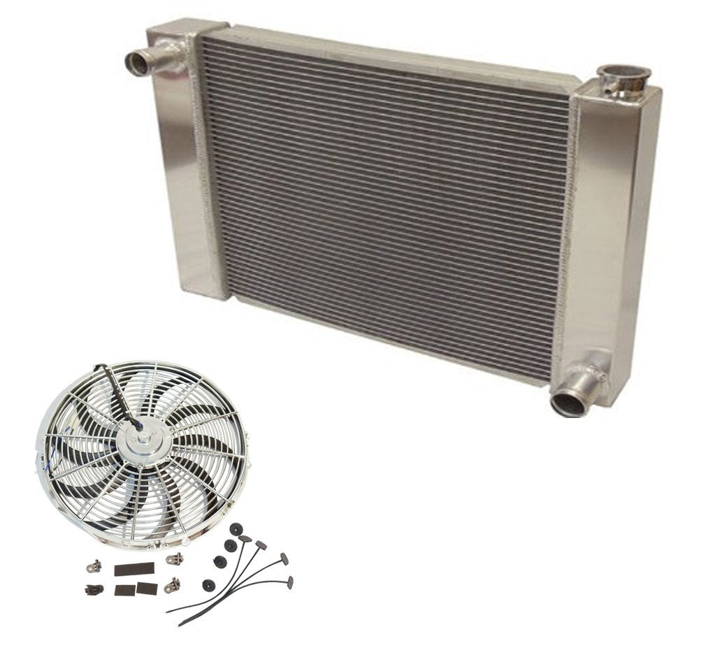 "Fabricated Aluminum Radiator 24"" x 19"" x 3"" Overall For SBC BBC Chevy GM&Chrome 14"" Curved Blade Cooling Fan"
