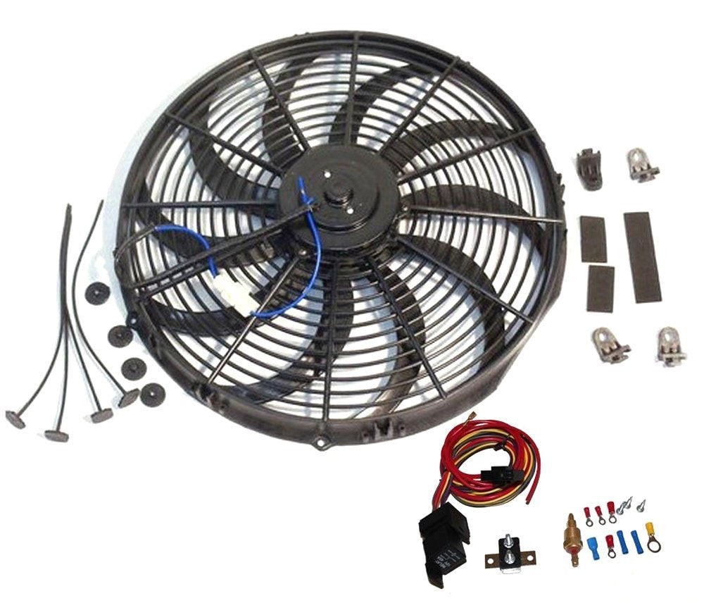 "14"" Electric Heavy Duty Radiator Reversible Fan & Thermostat Kit"