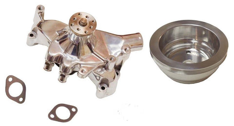 SBC Chevy Long Water Pump Chrome High Volume 350 383 Small Block Chevy & LWP Crank Pulley