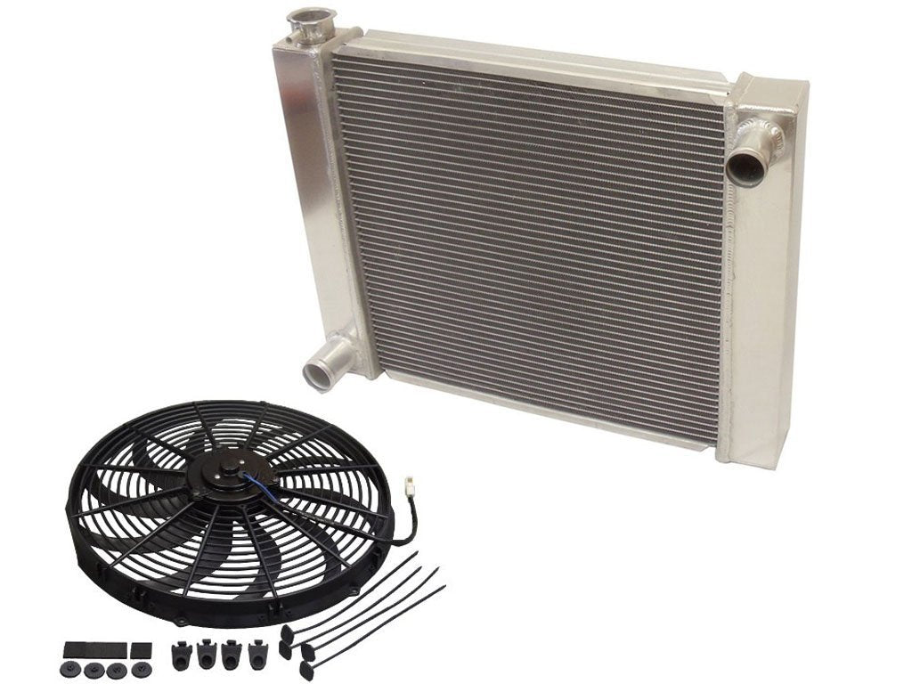 "Universal Ford / Mopar Fabricated Aluminum Radiator 28"" x 19"" x3"" Overall with 16"" Electric Fan"