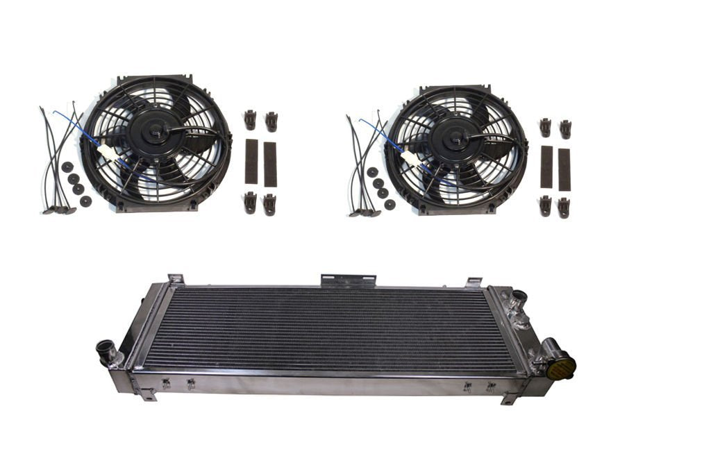 "For 91-01 Jeep Cherokee/Comanche 2.5/4.0 3-Row/Core Full Aluminum Radiator & Dual 10"" Electric Cooling Fans"
