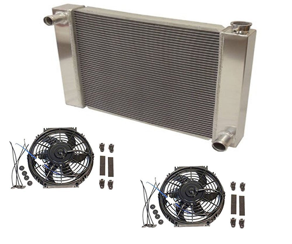 "Fabricated Aluminum Radiator 30"" x 19"" x3"" Overall For SBC BBC Chevy GM With 2pcs 10 Inch Electric Fan"