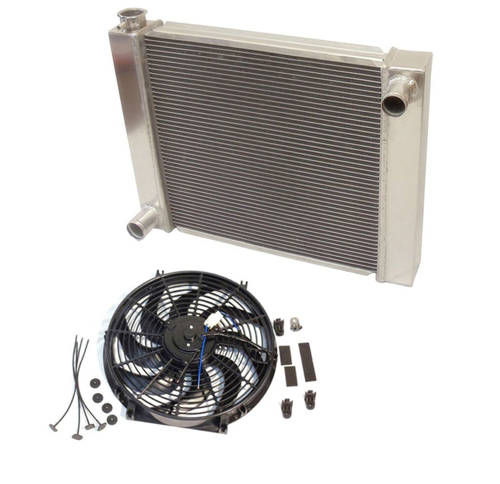 "Universal Ford / Mopar Fabricated Aluminum Radiator 28"" x 19"" x3"" Overall With 14 Inch Electric Fan"