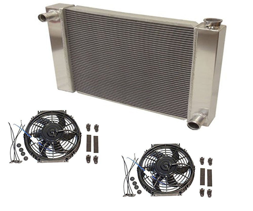 "Fabricated Aluminum Radiator 31"" x 19"" x3"" Overall For SBC BBC Chevy GM With 2pcs 10 Inch Electric Fan"