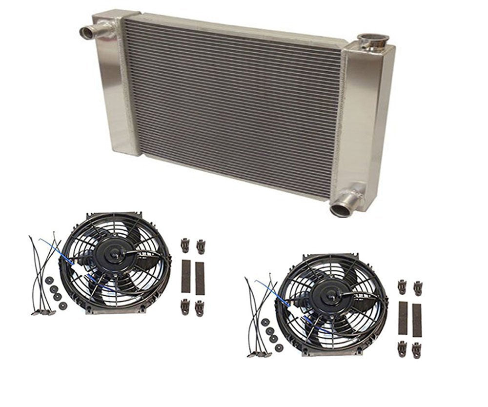 "Universal Ford /Mopar Fabricated Aluminum Radiator 26"" x 19"" x3"" Overall With 2pcs 10 Inch Electric Fan"