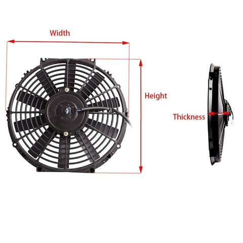 "2 Sets 16"" Straight Blade Reversible Cooling radiator Fan 12V 2500 CFM"