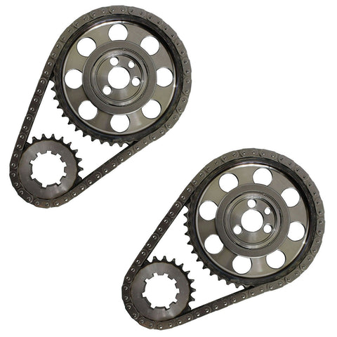 2 Sets Double Roller 9 Keyway Billet Steel Timing Chain Kit for Chevy SBC 350