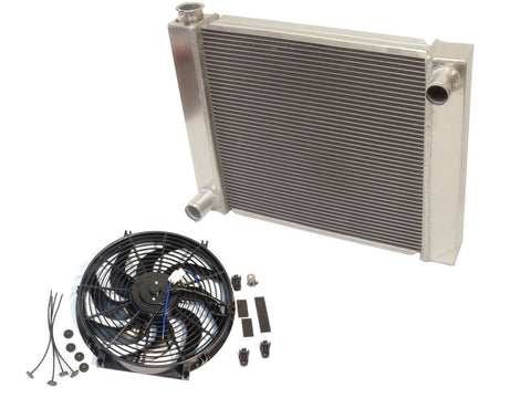 "Universal Super Cool Ford/Mopar Fabricated Aluminum Radiator 24"" x19"" x3"" With 14 Inch Electric Fan"