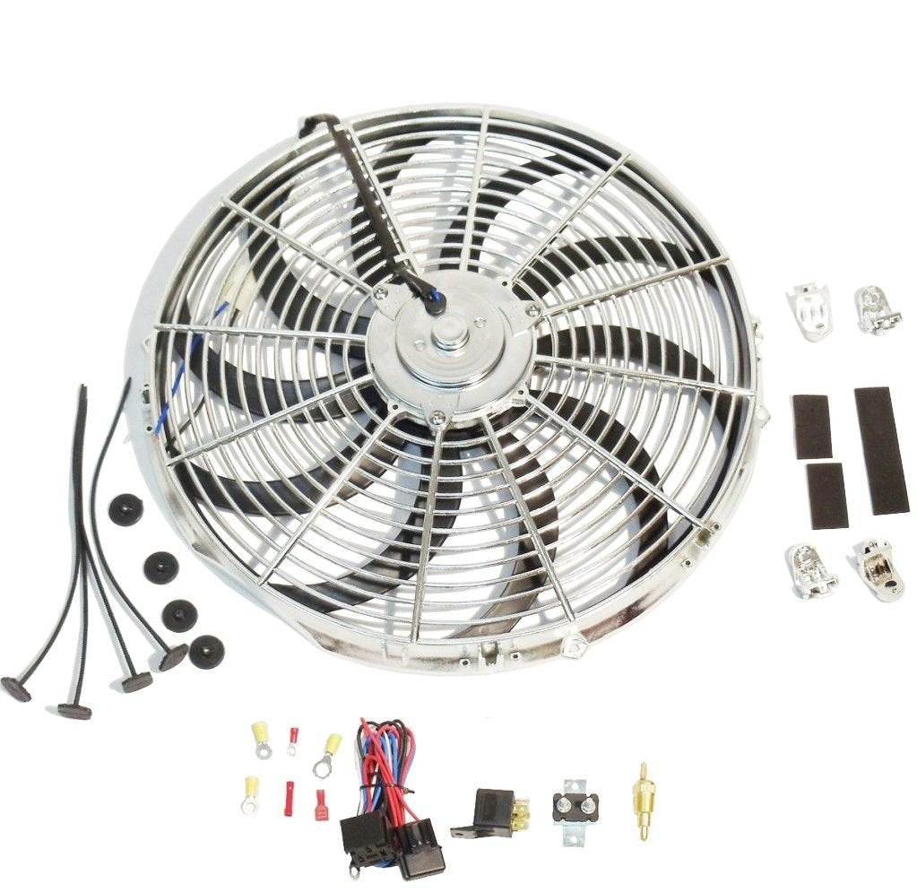 "New Chrome 16"" Reversable Electric Cooling Fan 2500cfm Thermostat Kit"