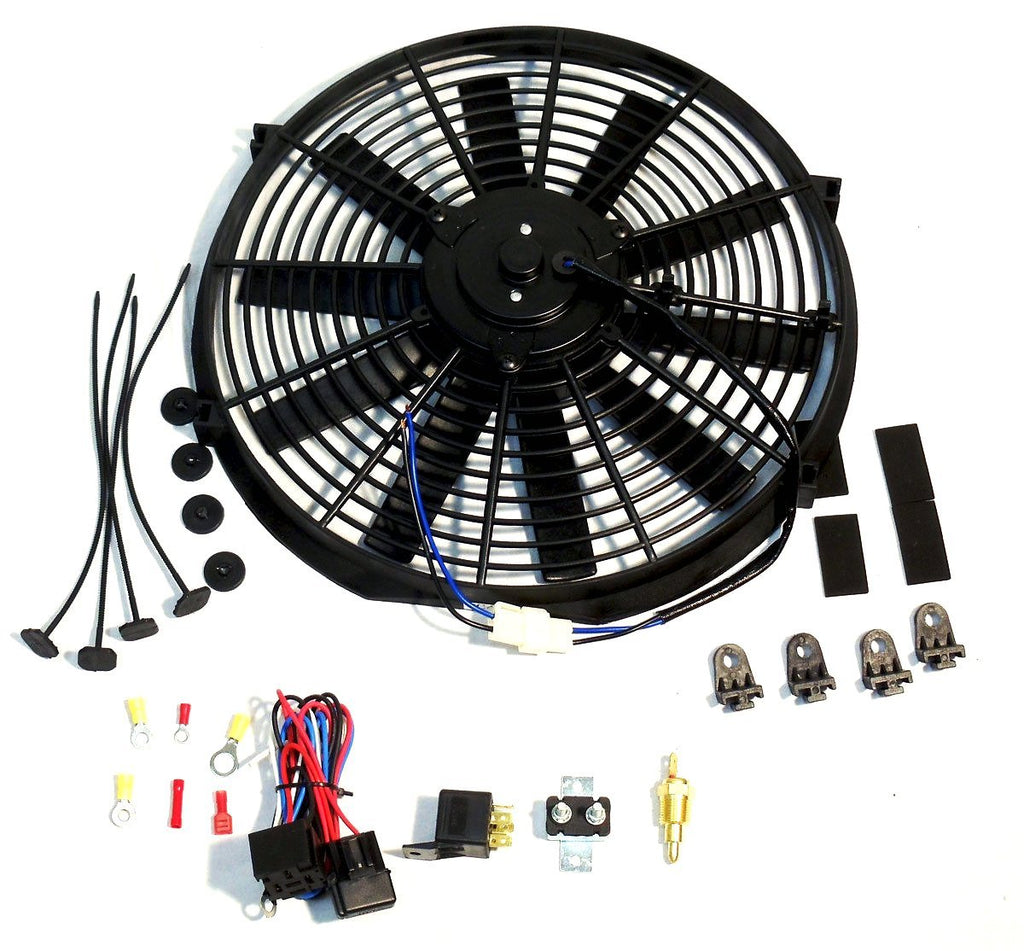 "16"" Reversible Cooling radiator Fan, Straight Blade 12v 3000cfm W/ Thermostat Kit"