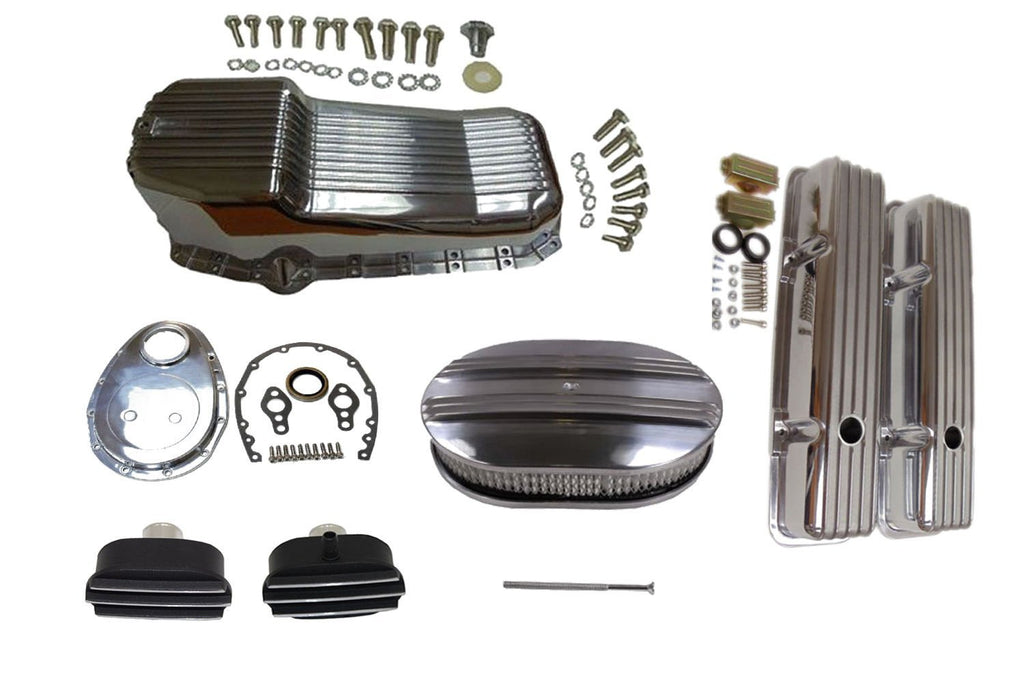 Polished Finned Small Block Chevy SBC Engine Dress Up Kit 283-350