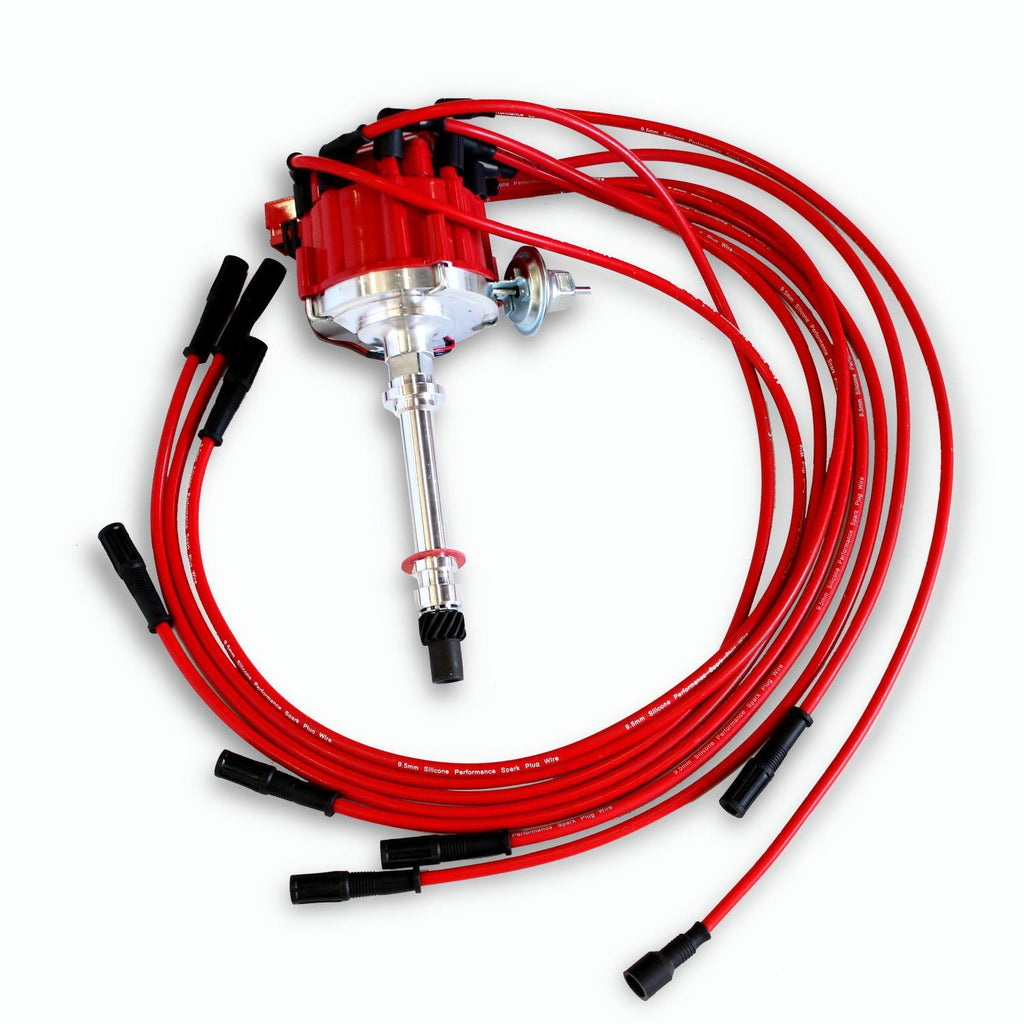 HEI Distributor For Chevy SBC 350 BBC 454 & 9.5MM Straight Spark Plug Wires Kit