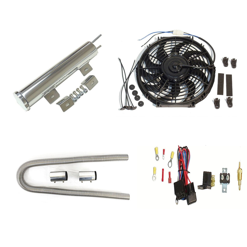 "16"" Radiator Cooling Fan with Thermostat Relay & 3""X 10"" Overflow tank & 48"" Chrome Hose Kit"