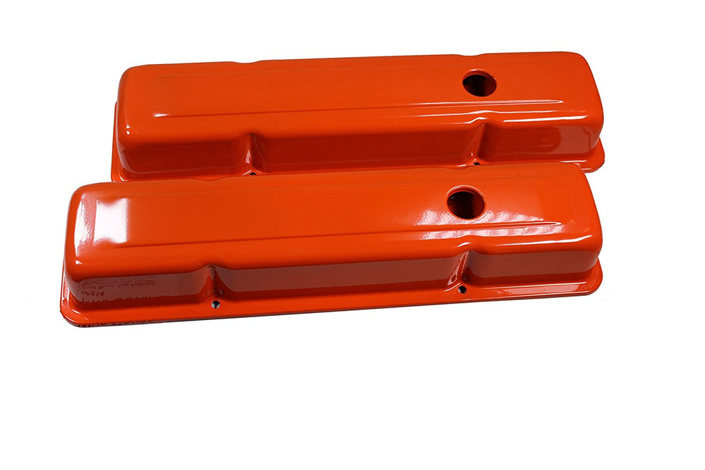 Small Block Chevy 58-86 Steel Orange Short Valve Cover 283 327 350 400 SBC