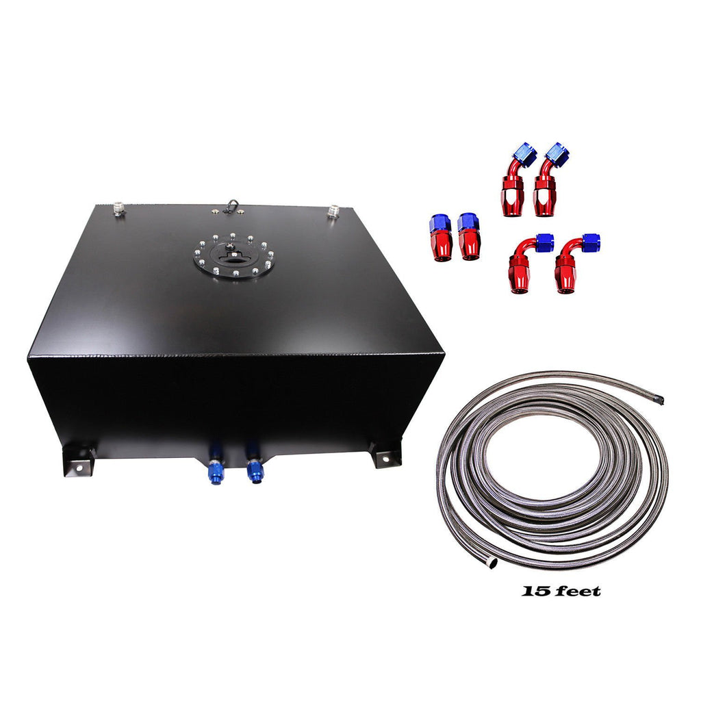20 Gallon Aluminum Black Fuel Cell Tank & Fuel Hose Sender& Fuel Line kit 10 AN