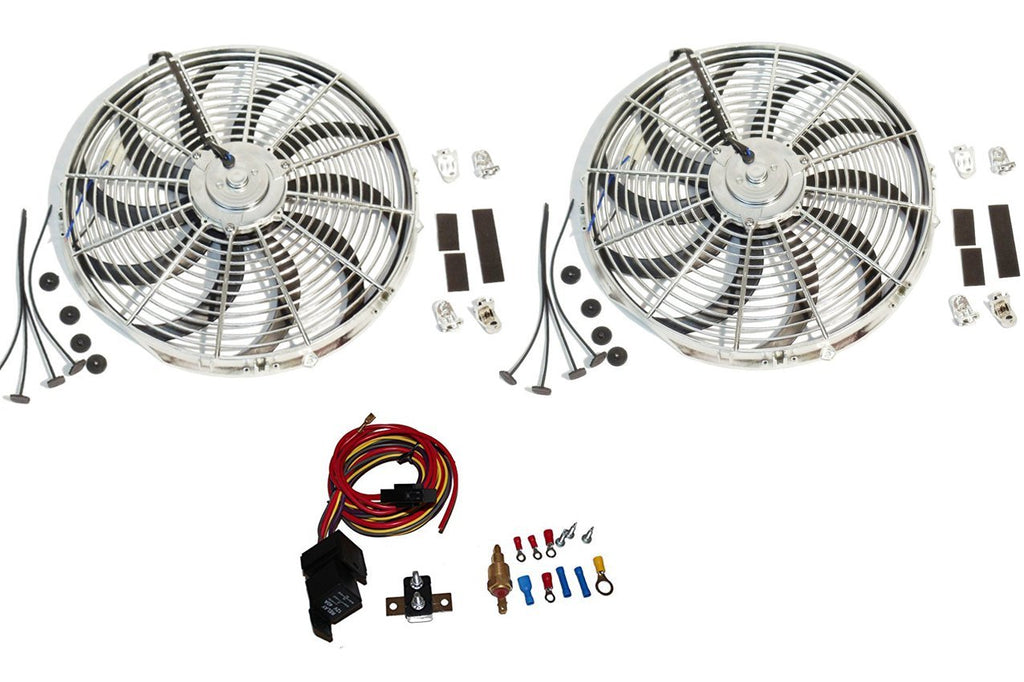 "2 Sets New Chrome 16"" Reversable Electric Radiator Cooling Fan 2500CFM with Heavy Duty Thermostat Kit"
