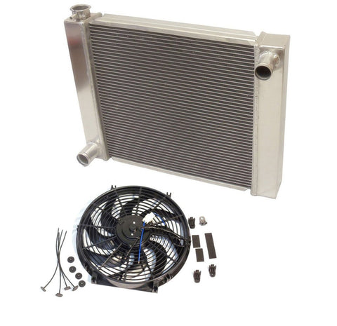 "Universal Ford / Mopar Fabricated Aluminum Radiator 31"" x 19"" x3"" Overall With 14 Inch Electric Fan"