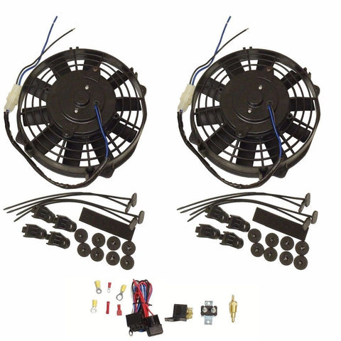 "2 pcs 8"" Straight Blade Electric Radiator Cooling Fan 12v with Thermostat Kit"