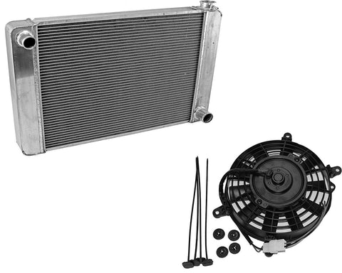 "Fabricated Aluminum Radiator 31"" x 19"" x3"" Overall For SBC BBC Chevy GM & 8"" Staight Blade Electric Radator Cooling Fan"