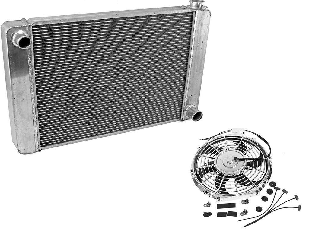"For SBC BBC Chevy GM Fabricated Aluminum Radiator 22"" x 19"" x3"" Overall & 10"" Chrome Electric Curved Blade Cooling Fan"