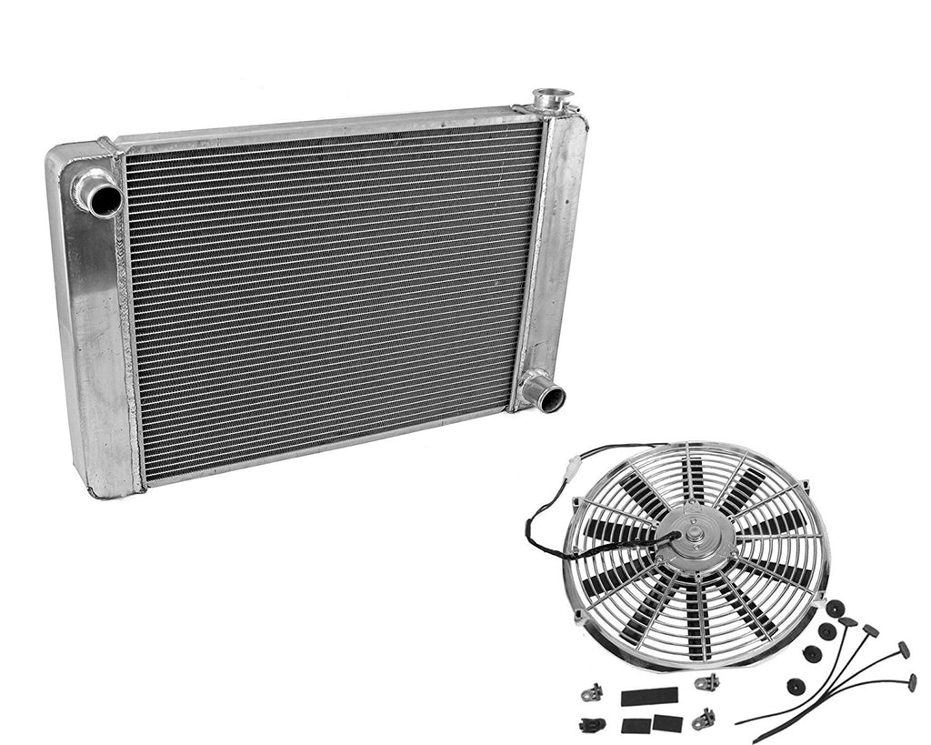 "Fabricated Aluminum Radiator 24"" x 19"" x 3"" Overall For SBC BBC Chevy GM& 14"" Chrome Straight Blade Cooling Fan"
