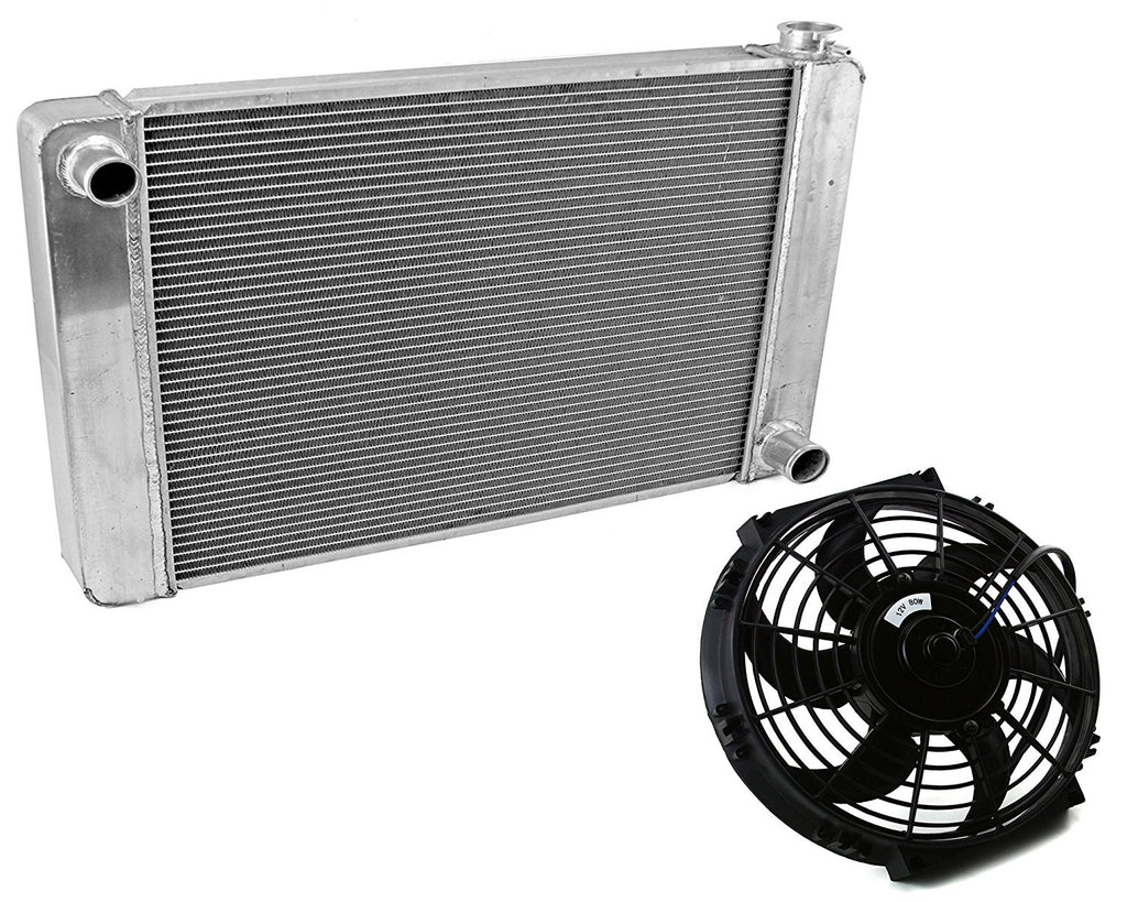 "Fabricated Aluminum Radiator 24"" x 19"" x 3"" Overall For SBC BBC Chevy GM &10"" Electric Curved Blade Cooling Fan"