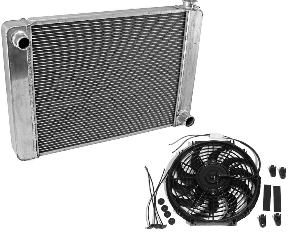 "Fabricated Aluminum Radiator 24"" x 19"" x 3"" Overall For SBC BBC Chevy GM&12"" Electric Curved Blade Reversible Cooling Fan"