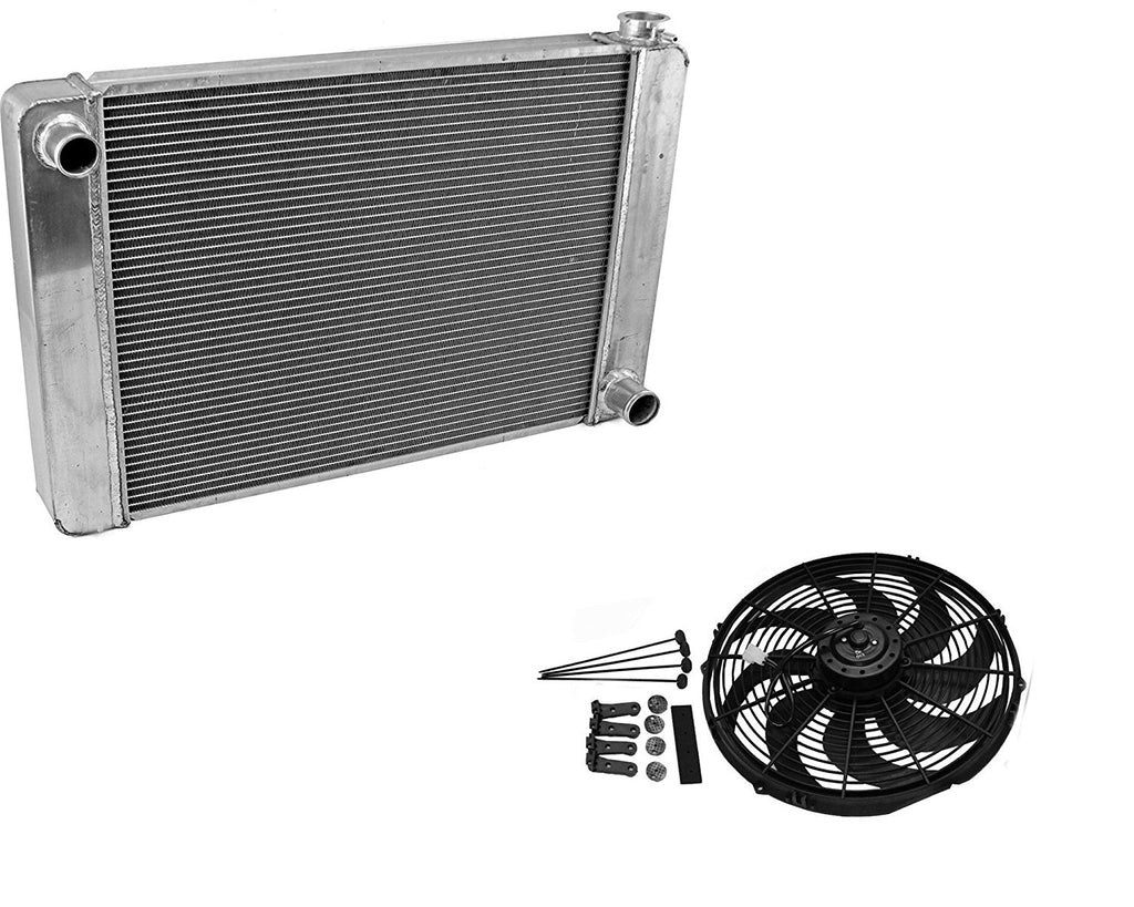 "Fabricated Aluminum Radiator 31"" x 19"" x3"" Overall For SBC BBC Chevy GM & 14"" Heavy Duty Radiator Electric Wide Curved Blade Fan"