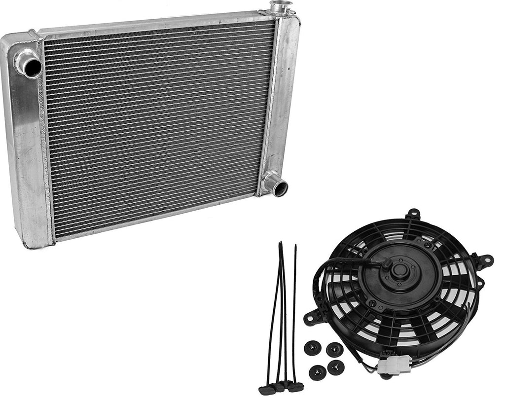 "For SBC BBC Chevy GM Fabricated Aluminum Radiator 21"" x 19"" x3""&8"" Heavy Duty Staight Blade Electric Cooling Fan"