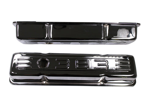 Small Block Chevy 58-86 Chrome Steel Short Valve Cover 283 327 350 400 SBC